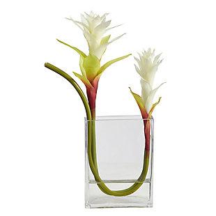"16"" Star Bromeliad Artificial Arrangement in Glass Vase, , large"