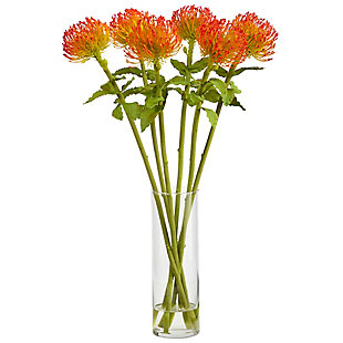 "23"" Pincushion Artificial Arrangement in Glass Vase, , large"