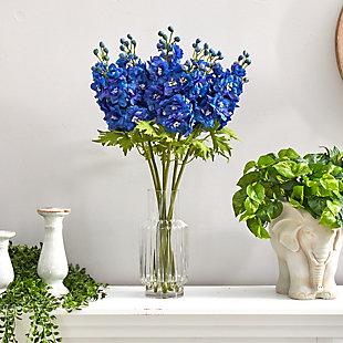 "29"" Delphinium Artificial Arrangement in Glass Vase, , rollover"