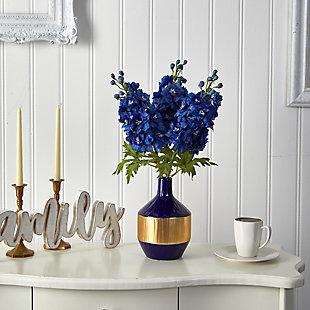 """23"""" Delphinium Artificial Arrangement in Blue and Gold Designer Vase, , rollover"""