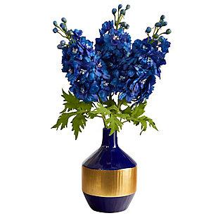 """23"""" Delphinium Artificial Arrangement in Blue and Gold Designer Vase, , large"""