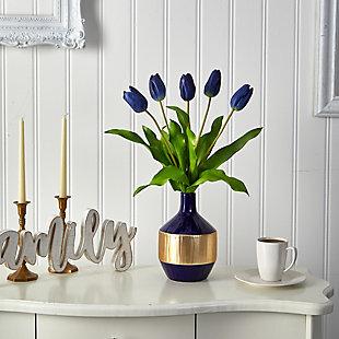 "22"" Dutch Tulip Artificial Arrangement in Blue and Gold Designer Vase, , rollover"