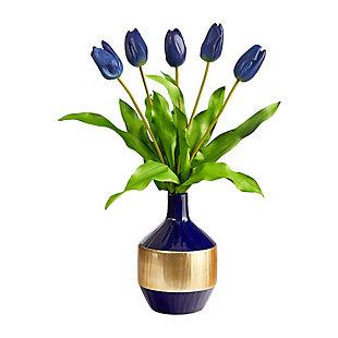 "22"" Dutch Tulip Artificial Arrangement in Blue and Gold Designer Vase, , large"