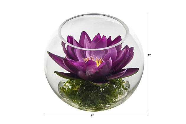 "8"" Lotus Artificial Arrangement in Glass Vase, , large"
