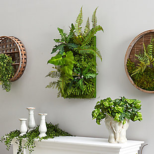 """24"""" x 16"""" Mixed Foliage Artificial Living Wall, , rollover"""