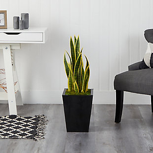 "31"" Sansevieria Artificial Plant in Black Metal Planter, , rollover"