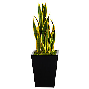"31"" Sansevieria Artificial Plant in Black Metal Planter, , large"