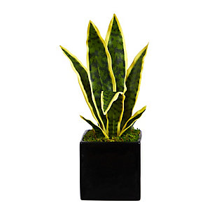 "16"" Sansevieria Artificial Plant in Black Planter, , large"
