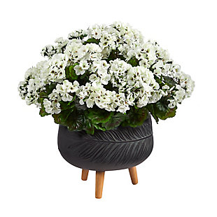 "26"" Geranium Artificial Plant in Black Planter with Stand UV Resistant (Indoor/Outdoor), , large"