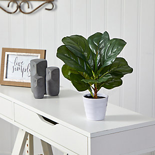 "11"" Fiddle Leaf Artificial Plant in White Planter (Real Touch), , rollover"
