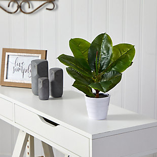 "11"" Rubber Leaf Artificial Plant in White Planter (Real Touch), , rollover"