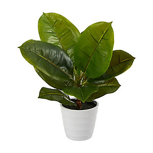 "11"" Rubber Leaf Artificial Plant in White Planter (Real Touch), , large"