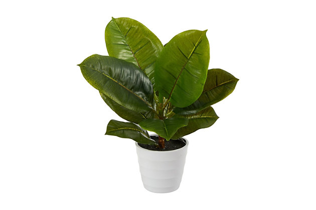 """11"""" Rubber Leaf Artificial Plant in White Planter (Real Touch), , large"""
