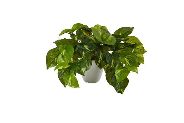 "9"" Pothos Artificial Plant in White Planter (Real Touch), , large"