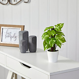 """9"""" Pothos Artificial Plant in White Planter (Real Touch), , rollover"""
