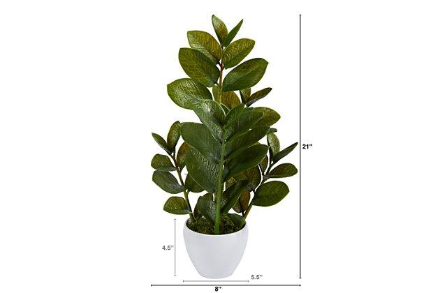 "22"" Zamioculcas Artificial Plant in White Planter, , large"