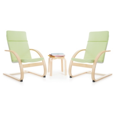 Ashley Home Accents Kiddie Rocker Chairs and Table (Set of 3), Green
