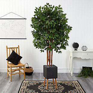 6.5' Super Deluxe Ficus Artificial Tree in Black Planter with Stand, , rollover