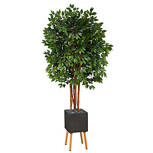 6.5' Super Deluxe Ficus Artificial Tree in Black Planter with Stand, , large