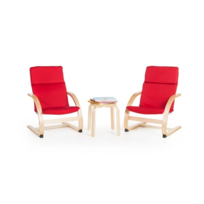 Ashley Home Accents Kiddie Rocker Chairs and Table (Set of 3), Red
