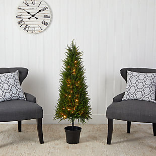 3.5' Cypress Artificial Tree with 350 LED Lights UV Resistant (Indoor/Outdoor), , rollover