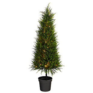 3.5' Cypress Artificial Tree with 350 LED Lights UV Resistant (Indoor/Outdoor), , large
