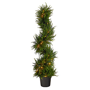 """45"""" Spiral Cypress Artificial Tree with 80 Clear LED Lights UV Resistant (Indoor/Outdoor), , large"""