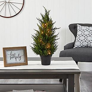 "18"" Cedar Artificial Tree with LED Lights UV Resistant (Indoor/Outdoor), , rollover"