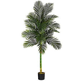 7' Single Stalk Golden Cane Artificial Palm Tree, , large
