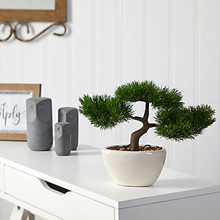 "10"" Cedar Bonsai Artificial Tree in Decorative Planter, , rollover"