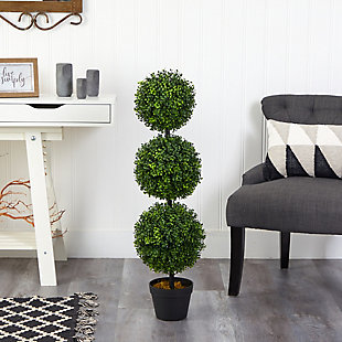 3' Boxwood Triple Ball Topiary Artificial Tree (Indoor/Outdoor), , rollover