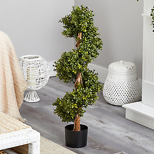 """33"""" Boxwood Topiary Spiral Artificial Tree (Indoor/Outdoor), , rollover"""