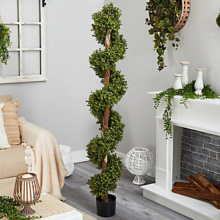 6' Boxwood Spiral Topiary Artificial Tree, , rollover