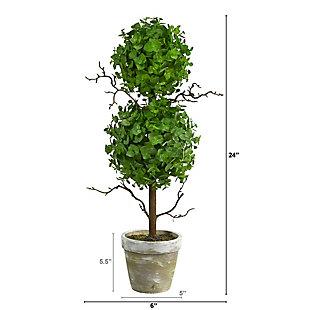 2' Eucalyptus Double Ball Topiary Artificial Tree, , large