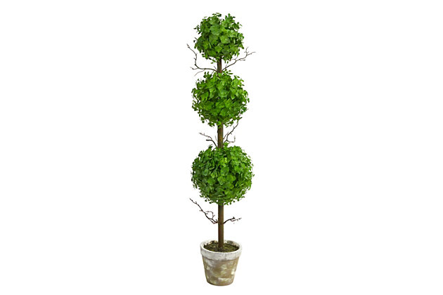 3' Eucalyptus Triple Ball Topiary Artificial Tree, , large