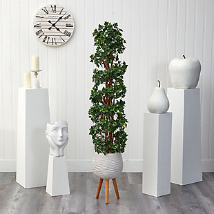 5.5' English Ivy Topiary Spiral Artificial Tree in White Planter with Stand UV Resistant (Indoor/Outdoor), , rollover
