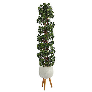 5.5' English Ivy Topiary Spiral Artificial Tree in White Planter with Stand UV Resistant (Indoor/Outdoor), , large