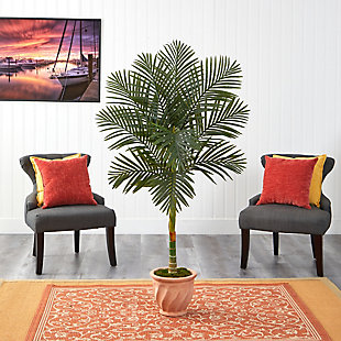 5' Golden Cane Artificial Palm Tree in Terra-Cotta Planter, , rollover
