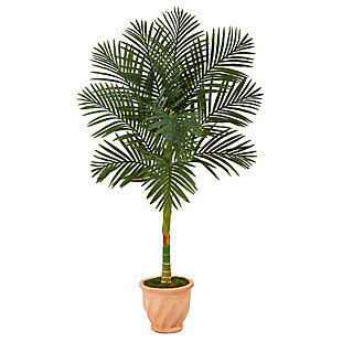 5' Golden Cane Artificial Palm Tree in Terra-Cotta Planter, , large