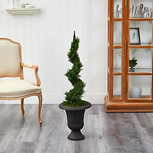 "46"" Cypress Spiral Topiary Artificial Tree in Charcoal Urn, , rollover"