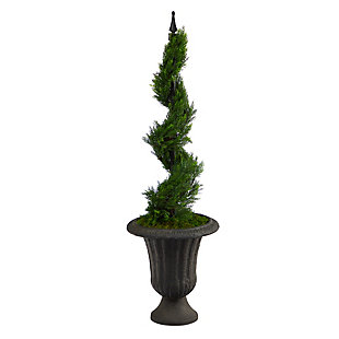 "46"" Cypress Spiral Topiary Artificial Tree in Charcoal Urn, , large"