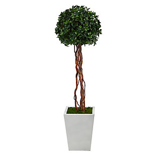 4' English Ivy Topiary Single Ball Artificial Tree in White Metal Planter UV Resistant (Indoor/Outdoor), , large