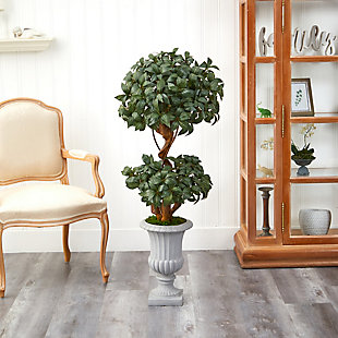 "51"" Sweet Bay Double Ball Topiary Artificial Tree in Decorative Urn, , rollover"