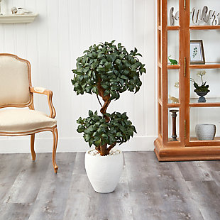 "45"" Sweet Bay Double Ball Topiary Artificial Tree in White Planter, , rollover"