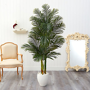 6' Golden Cane Artificial Palm Tree in White Planter, , rollover