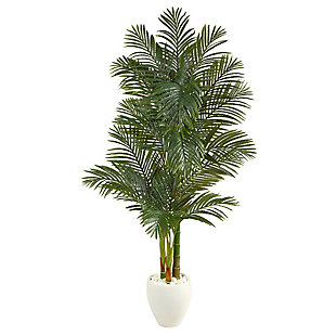6' Golden Cane Artificial Palm Tree in White Planter, , large