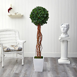 "62"" English Ivy Single Ball Artificial Topiary Tree in White Metal Planter UV Resistant (Indoor/Outdoor), , rollover"