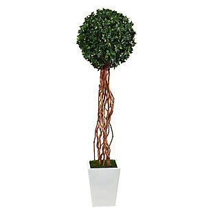 "62"" English Ivy Single Ball Artificial Topiary Tree in White Metal Planter UV Resistant (Indoor/Outdoor), , large"