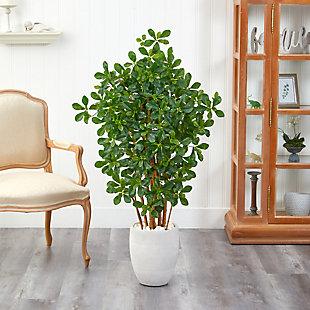"56"" Black Olive Artificial Tree in White Planter, , rollover"