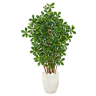 """56"""" Black Olive Artificial Tree in White Planter, , large"""